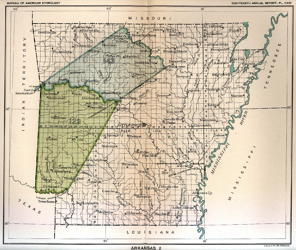 Arkansas Indian Tribes Map Indian Land Cessions Maps and Treaties in Arkansas, Indian