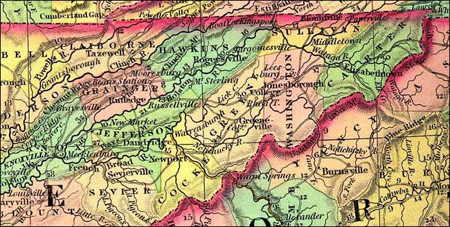 Green Co., Tennessee Map - 1834