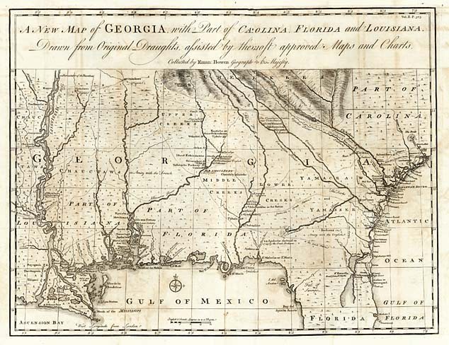 Colonial Map Of Georgia.Georgia 1748 Tngenweb Project Tngennet