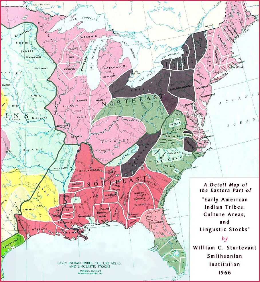 american indian tribes cultural areas and linguistic stocks a detail map of the south eastern united states
