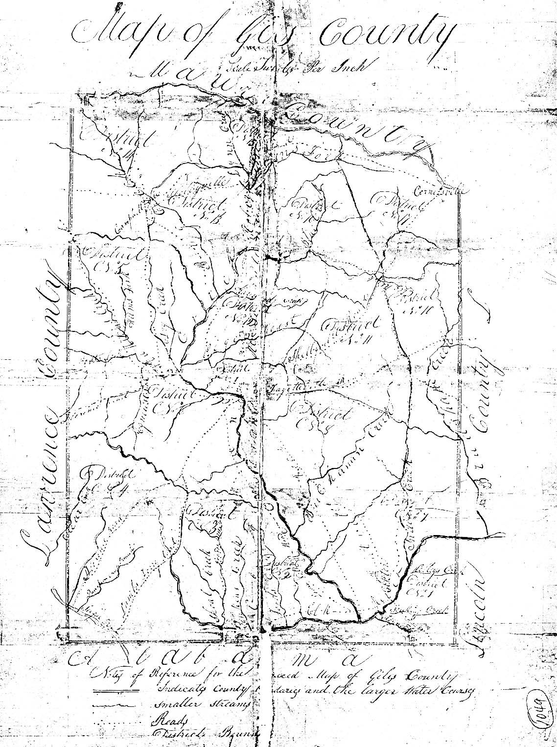 Giles County, Tennessee Civil Districts, 1836