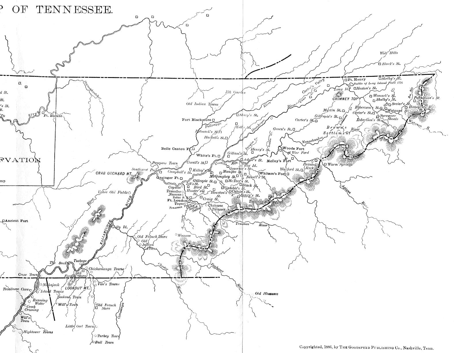 TNGenWeb Goodsd's 1886 TN Map on map of nashville tn, map of chattanooga tn, map of philadelphia tn, map of cumberland plateau tn, map of memphis tn,