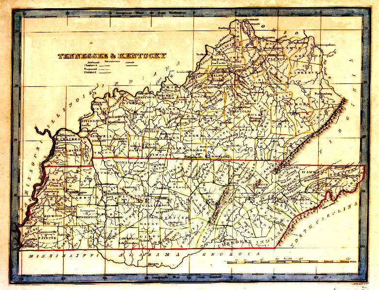 TNGenWeb Tennessee Kentucky Map - Map of tennessee showing cities