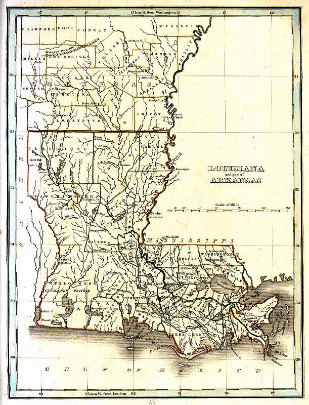 Arkansas And Louisiana Map.Tngenweb Louisianna Arakanas 1835 Map