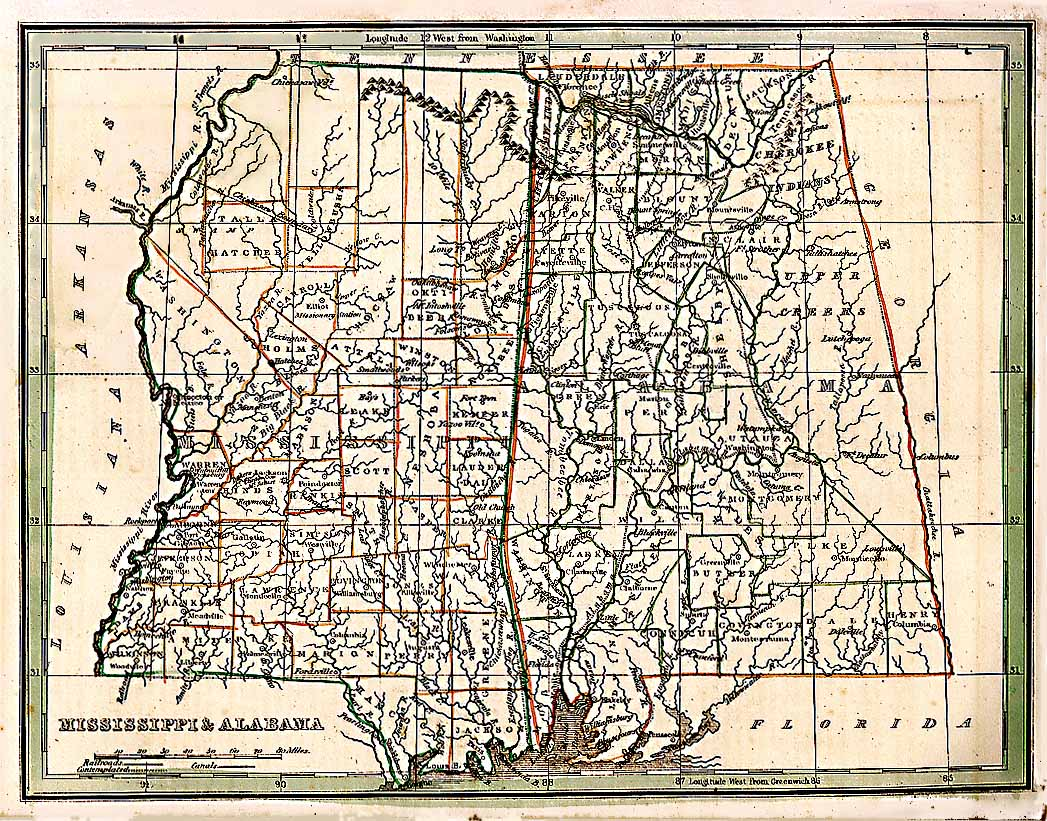 TNGenWeb Mississippi Alabama Map - Road map of alabama