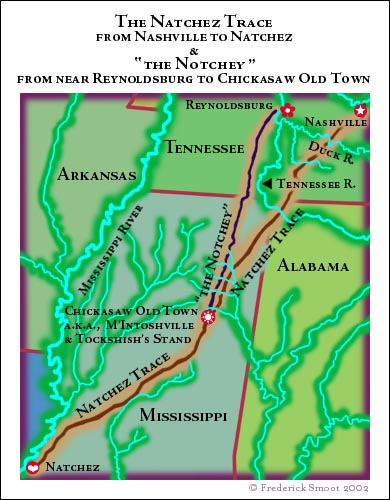 Natchez Road Natchez Trace Map 1800 1830s Tngenweb Project