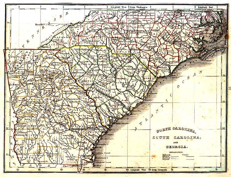 TNGenWeb North Carolina, South Carolina & Georgia ~ 1835 Map, TNGenWeb