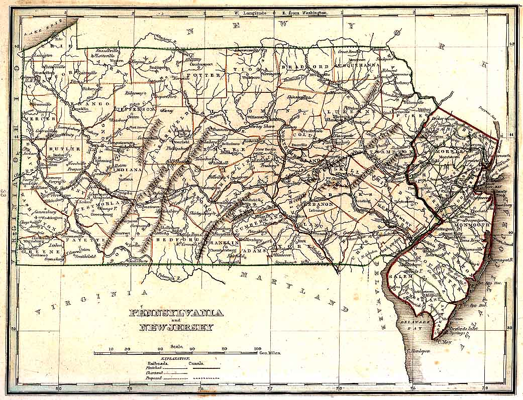 TNGenWeb Pennsylvania  New Jersey 1835 Map
