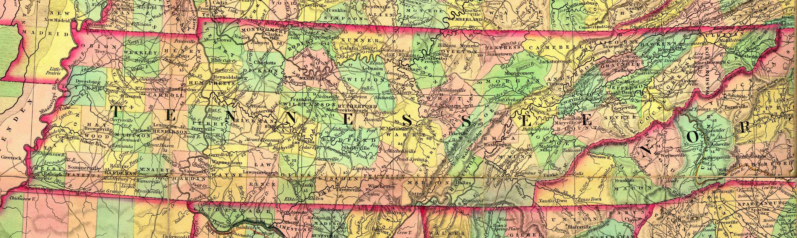 Maps TNGenNet TNGenWeb Map Project Maps Tennessee Old Time Maps - Us map atlas
