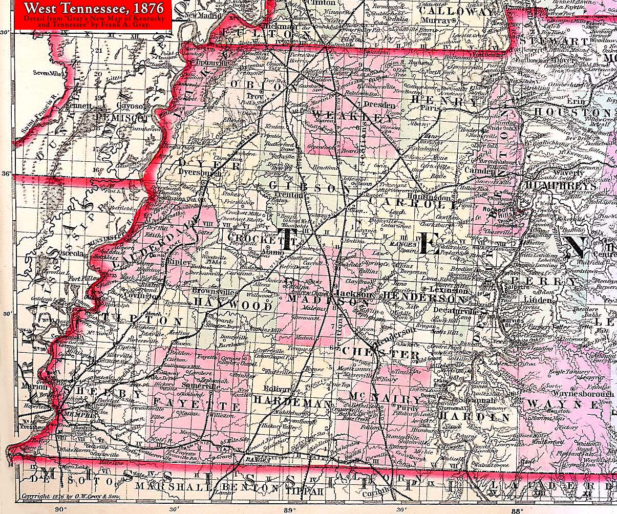 Map Of West Tennessee Maps, Railroads, Roads | Obion County, TNGenWeb