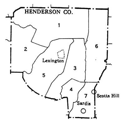 Henderson Tennessee Map.Henderson County Civil Districts