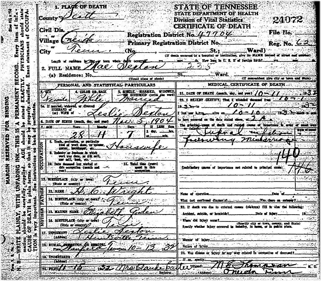 Tennessee scott county helenwood - Added 1932