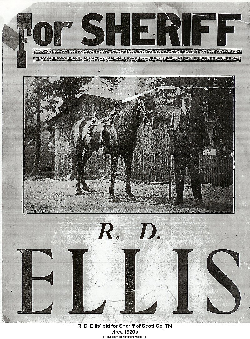 Tennessee scott county helenwood - R D Ellis Campaign Poster For Scott Co Tn Sheriff Circa 1920 S