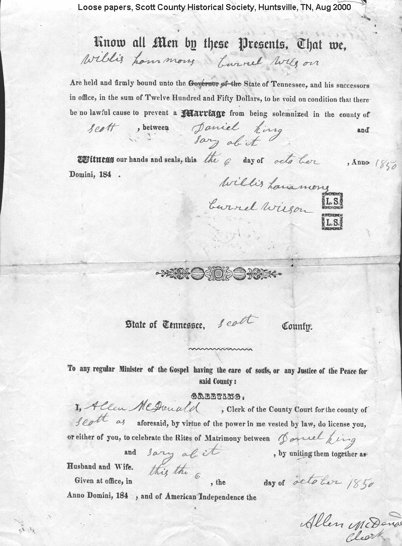 Tennessee scott county helenwood - Added 1850 Marriage And