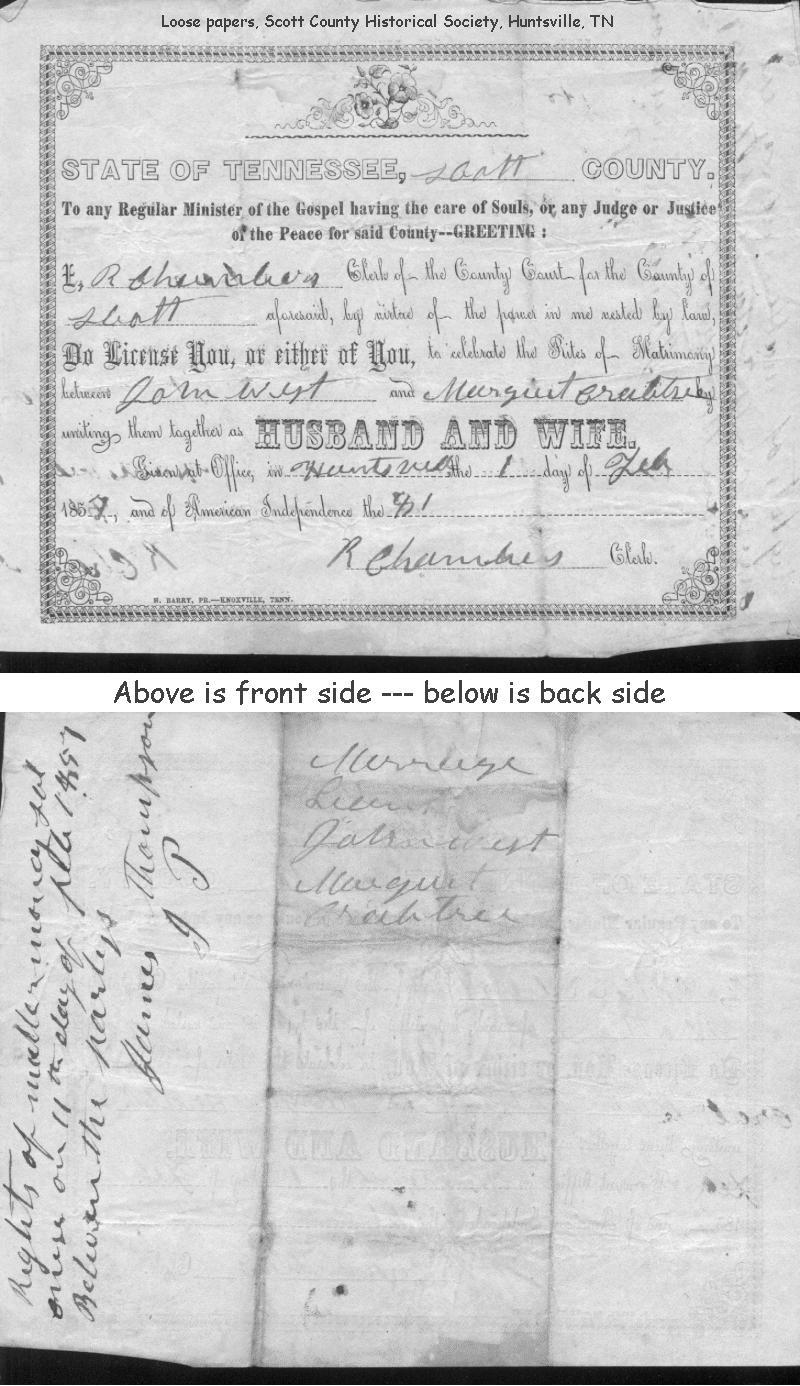 Tennessee scott county helenwood - Added Copy Of 1 Feb 1857 John West And Margaret Crabtree Marriage License