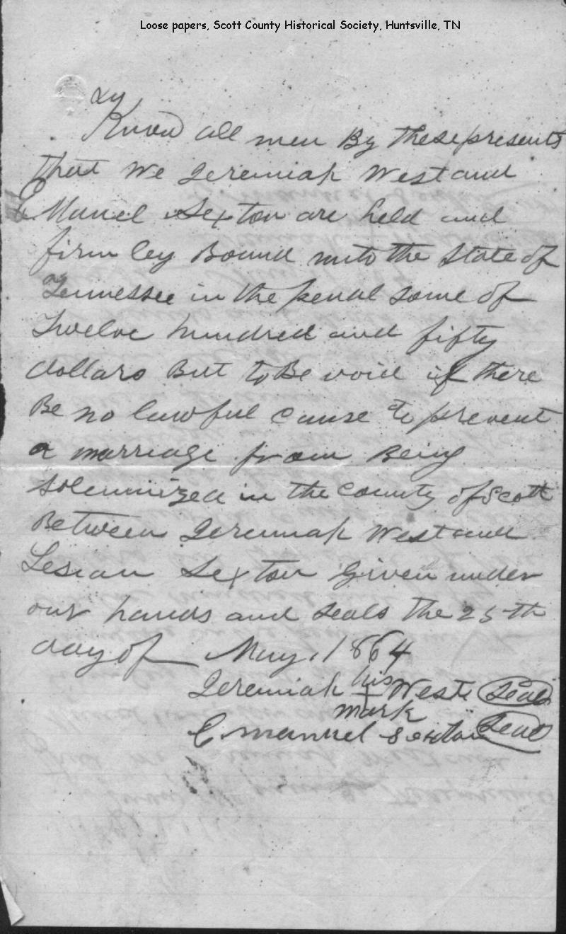 Tennessee scott county helenwood - Added Copy Of 25 May 1864 Jeremiah West And Lesian Sexton Bond