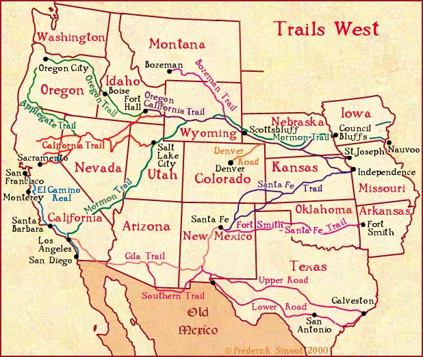 Trails West A Map Of Early Western Migration Trails TNGenNet Inc - Map of southeast usa with cities